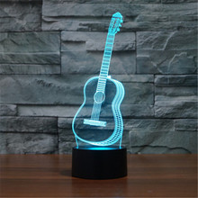 AUCD Acrylic Guitar Bedroom LED Desktop Table Lamp Christmas USB Valentines Day Birthday Gift 3D Touch Button Night Light-208(China)