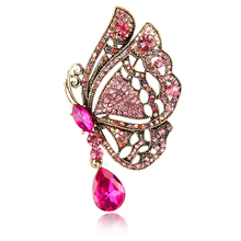 New Arrival Pink Yellow Blue Assorted Color Crystal Diamante Butterfly Brooches and Pins for Women in Antique Gold color