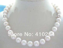 $wholesale_jewelry_wig$ free shipping Genuine Natural 13mm Round White Pearl Necklace 14KT (China)