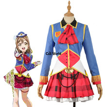 Love Live Sunshine Aqours Happy Party Train Nyamazing Kunikida Hanamaru Uniform Dress Coat Shirt Outfit Anime Cosplay Costumes