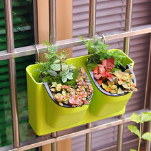 Plant Wall  Hanging Pot Chlorophytum Green Background Combined Bonsai Decorative Plants Thickened Fleshy Plastic Basin