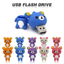 Free shipping cute Rilakkuma 4GB 8GB 32GB 64GB Silicone cartoon U Disk USB 2.0 usb Flash Drive pen drive memory stick