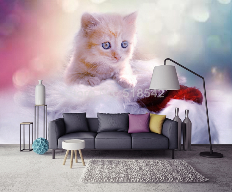 HTB19mytRFXXXXcvXXXXq6xXFXXXy - Custom Any Size 3D Wall Mural Wallpaper Cute Cat Children Room Bedroom Photo Background Wall Decoration Non-woven Wall Covering