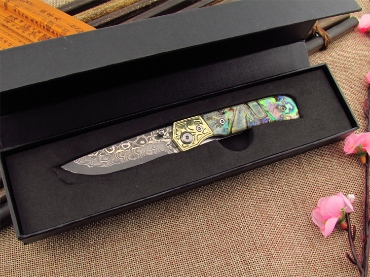 Damascus unity knives outdoor knife Multifunctional tool knife folding knife with 440 c Damascus steel<br>