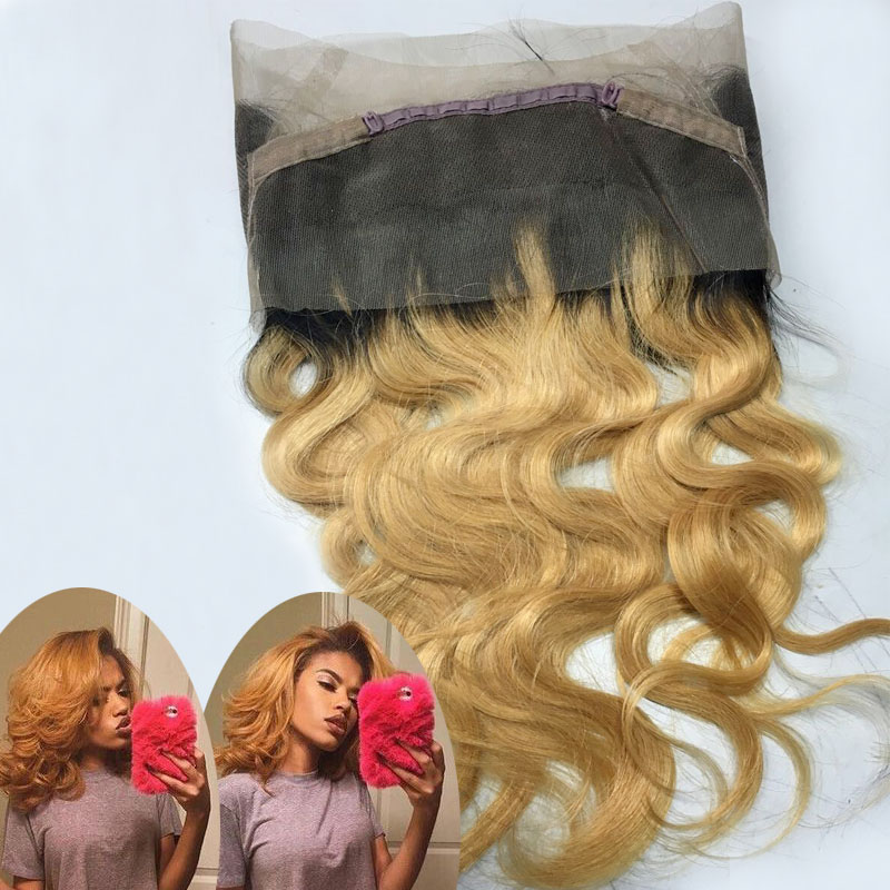 Ombre 360 Lace Frontal Closure Dark Roots Honey Blonde Body Wave Brazilian Remy Human Hair Baby Hair Natural Hair Line<br><br>Aliexpress