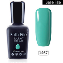 Belle Fille Wine Red Gel Nail Polish Green Color Bling Pink Nail Gel Polish UV Gel Varnish for UV LED Lamp Beauty Makeup Gel