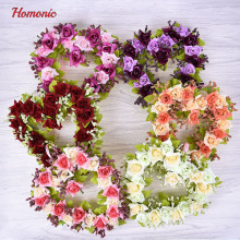 Simulation Flower Heart Wreath Artificial Rose Heart Garland Home Wedding Decor 6 Colors P25
