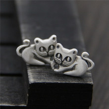 S925silver Sterling Silver Vintage Cat Earrings Silver Earrings small fresh and lovely anti allergy