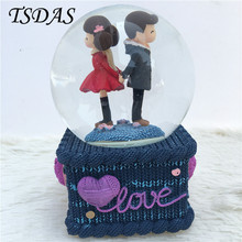Crystal Ball Music Box With Hand Cranked Snowflake Glass Snow Ball Music Box With Different Lights Nice Lover Gifts