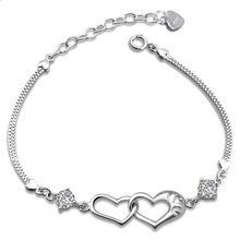 Fashion Simple Korean 925 Sterling Silver Jewelry Cute Girl Love Double Heart Silver Bracelets & Bangles For Women Gift GSZZ0150