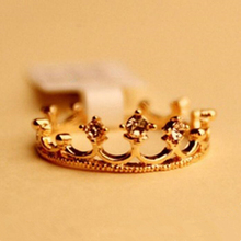 2016 New Fashion Crystal Rhinestone Crown Ring For Women Cute Elegant Luxury gold silver  Engagement Party Ring Wholesale