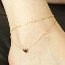 Summer Style Charming Heart Pendant Two Chains Anklet Ankle Bracelet Foot Jewelry Barefoot Sandals Anklets For women