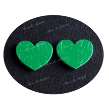 16mm Green Heart Shape  Image Painted Wooded Laser Cut Cabochon to make Rings, Earrings, Bobby pin, pendant