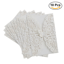 10pcs Vertical Laser Cut Butterfly Invitations Cards Kits for Wedding Bridal Shower Birthday (White)