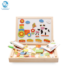 Wooden toys toy for children Montessori education Magnetic Drawing Board Puzzle 3D puzzle Cartoon farm design Gifts