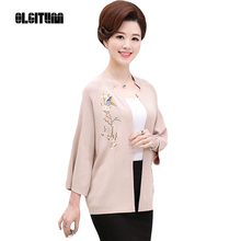 OLGITUM 2017 New mother loaded fashion short jacket middle-aged women embroidered bat sleeves cloak knit cardigan SW254