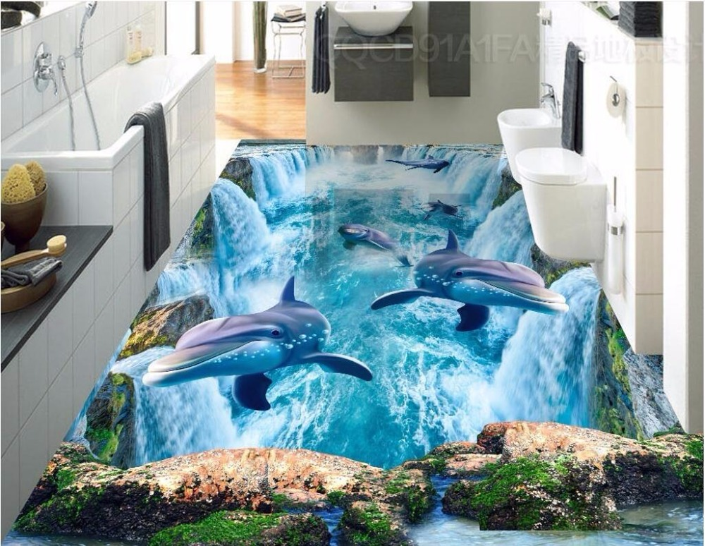Custom photo 3d pvc flooring self adhesion wall sticker Wealthy waterfall dolphins bedroom wallpaper for walls 3 d<br>