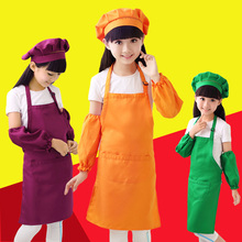 Polyester children apron kindergarten art painting apron yellow red blue green S M L print logo(China)