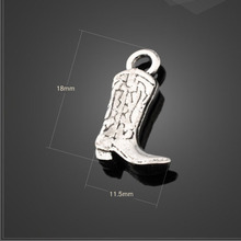 Factory Price 10 Pieces/Lot 18mm*11.5mm Antique Silver Plated metal charm cowboy boot charm shoe charms For Jewelry Making