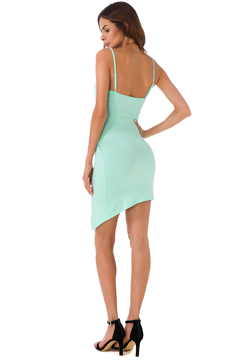 Forefair Sexy Ruched Cross V- Neck Strap Dress 2017 Summer Light Green Cotton Dress Women Backless Bodycon Party Dresses 7