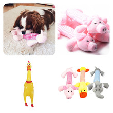 1PC Plush/Rubber Dog Chew Squeak Toys Pig Elephant Duck Pet Rope Toys Puppy Sound Toy Training Interative Throw Pick Up Bone Toy(China)