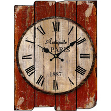 Wood Wall Clock Vintage Quartz Large Wall Watch Roman Numbers European Style Mordern Design Square Wall Clocks(China)