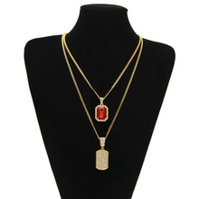 Hip Hop Jewelry Gifts  Golden Bling Rhinestone  stone CZ Army Card Necklaces Pendants Set Women Men Dog tag Chains
