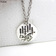 hzew Lovely camping pendant necklaces A river runs through it tree house camping necklace Lover Gift Live the simple life