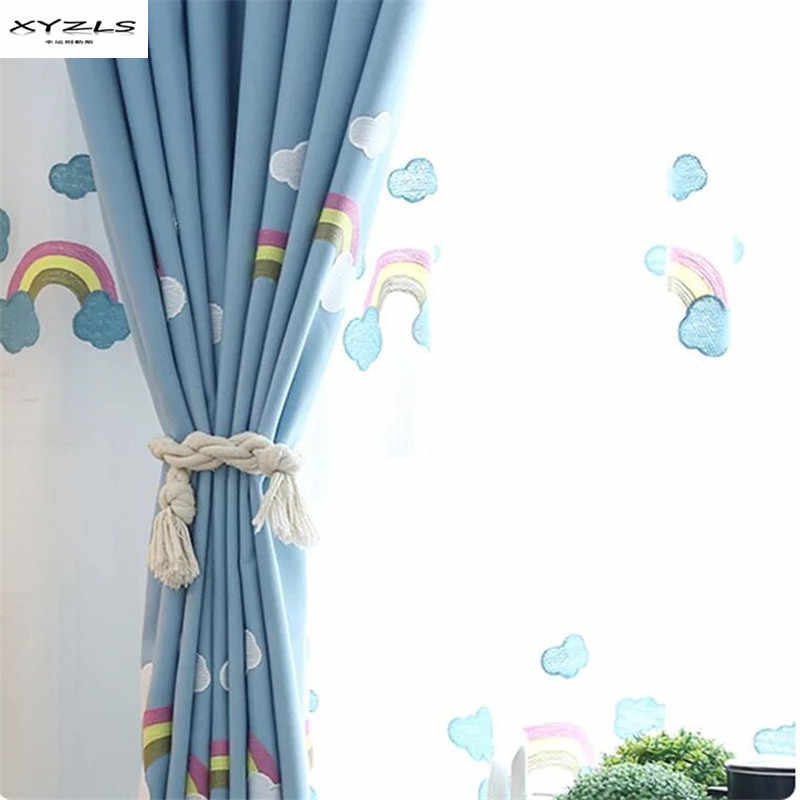 XYZLS Korean Style Cartoon Rainbow Curtains for Kids Room Blue Embroidered Blackout Curtains for Children Bedroom Window Drapes