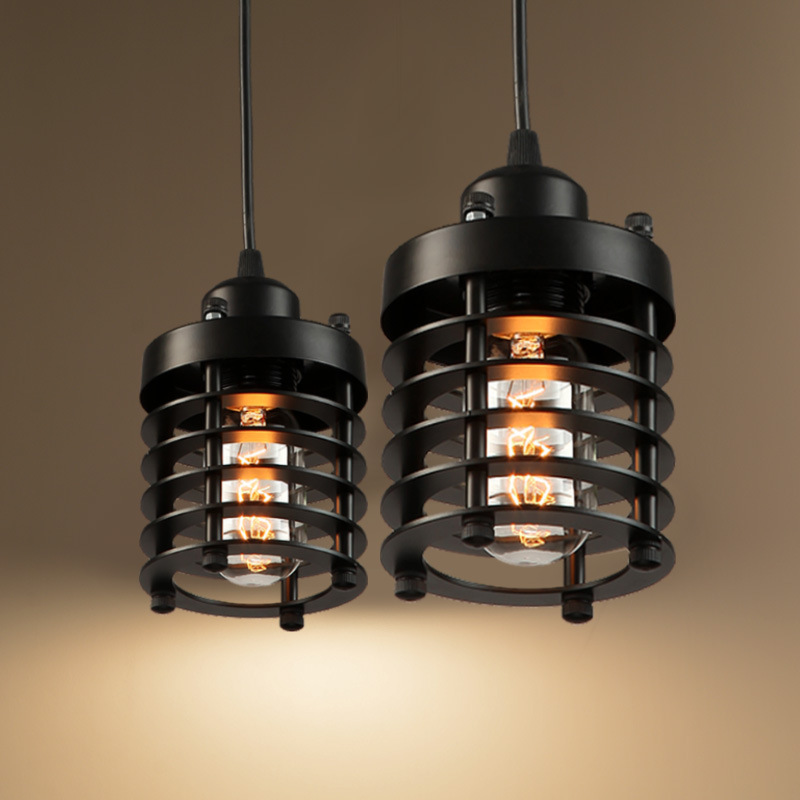 Loft Style Dia 14cm Pendant Light Black Vintage Industrial Lighting American Country E27/E26 Base Hanging Lamp WPL059<br>