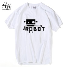 HanHent Creative Robot Android Funny T Shirts Male Fashion Short Sleeve Spoof Geek T-Shirt Unique Letters Printed Tees S-XXL(China)