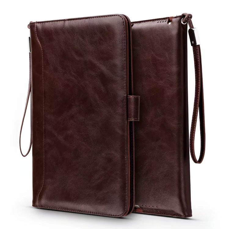 Luxury Business PU Leather Stand Case for iPad Air for iPad Air 2 Universal Smart Cover for iPad 5 6 7 with Card Bag Hand Strap<br>