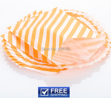 200pcs Paper Halloween Party Favor Bags Orange Diagonal Stripe-Wholesale Buffet Candy Treat Gift Goodie Bag-Choose Your Colors(China)