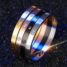 FATE LOVE Cross Screw Cuff Bracelets Bangles For Women 2017 Fashion Jewelry Rose Gold Stainless Steel Bangle Girl Gift Pulseiras