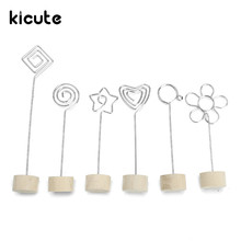 Kicute Unique Wood Memo Pincer Clips Paper Photo Clip Holder Wooden Small Clamps Stand School Office Supplies Accessories Decor(China)