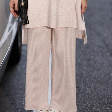 1e3abe4debac0 Tracksuits Special Offer 2017 Women Wool Knitted Suit Fashion Sweater +  Split Wide Leg Trousers Loose Two Piece Cashmere Suits