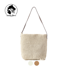 Knitted Straw bag Drawstring Beach Bags Women casual hollow shoulder bags linen Woven Stripe purse bucket bags