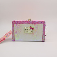 Hello Kitty purse with serpentine High quality PU very cute cat wallet female Fashion wallet women luxury brand