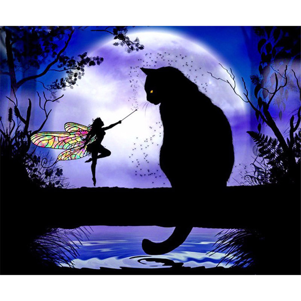 1 Set Cute 5D DIY Cat Diamond Painting Cross Stitch Black Cat &Butterfly Fairy Diamond Stick Drill Draw Rhinestone