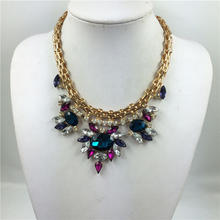 2015 Europe and the United luxurious texture exaggerated color crystal necklace 12PCS/LOT
