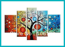 Framed 5 Panel Large Feng Shui Money Tree Chinese Oil Painting on Canvas Picture Wall Art quadro A0079
