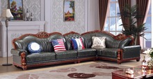 European leather sofa set living room sofa China wooden frame L shape corner sofa green