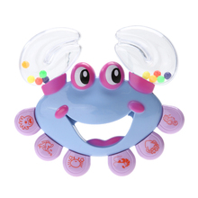 Safe Non-toxic Cartoon Baby Toys Baby Kids Crab Design Handbell Musical Instrument Jingle Shaking Rattle Kids Toy 0-3Y(China)