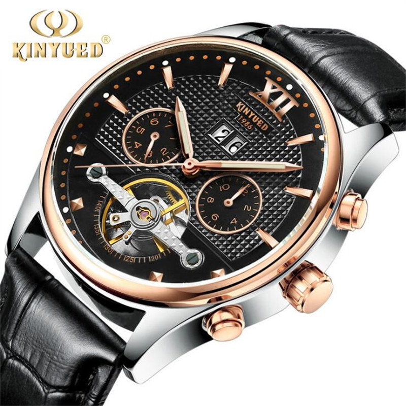 High quality mechanical KINYUED - 7 mens watch, leisure brand watches, fashion watches precise waterproof automatic calendar<br>