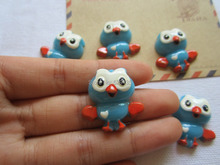 Free Shipping! Resin Hot Blue Owl, Resin Flatback Cabochons for Hair Bow Center,Home Crafts Making DIY (25*28mm)(China)