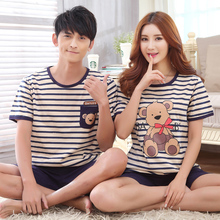 Summer Couple 100% Cotton Pajama Sets For Women Men Lover  Pyjama Femme Suit Pijama Short Sleeve  Striped Sleepwear Costumes