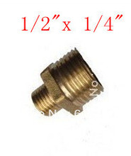 "Hex Bushing Adapter Reducer Brass 1/2"" Male x 1/4"" Male BSPT Connection Connectors Plumbing Pipe Fittings Reducing Water Air Gas(China)"