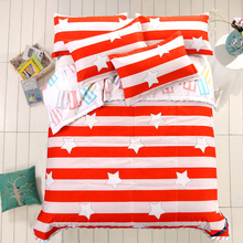 Summer Quilts set 3pcs/set red star stripe patchwork quilt + pillowcase blue bedspread thin comforter quilted quilt 150*200cm