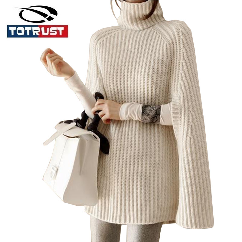 TOTRUST Sweaters Poncho Turtleneck 2018 Winter Fashion Women Pullover and Sweater Jumper Loose Oversized New Split Sleeve Female