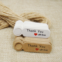 5*1.3cm cute shape kraft /white thanks you paper gift hang tag 500pcs +500pcs hemp string for candy/gift/cookies display